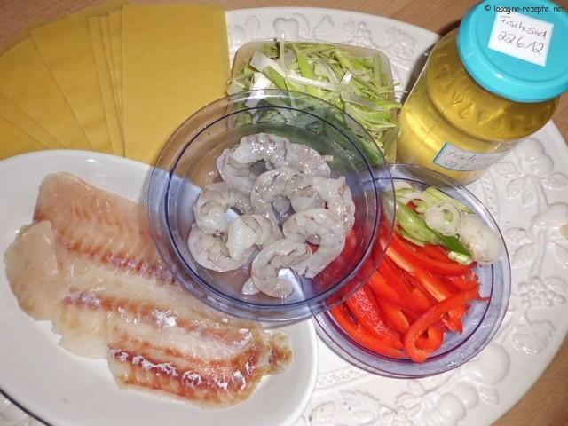 Zutaten Fisch und Garnelen