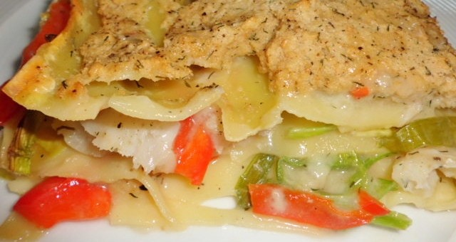 Rezepte für Lasagne Fisch,Garnelen mit Lauch und Paprika
