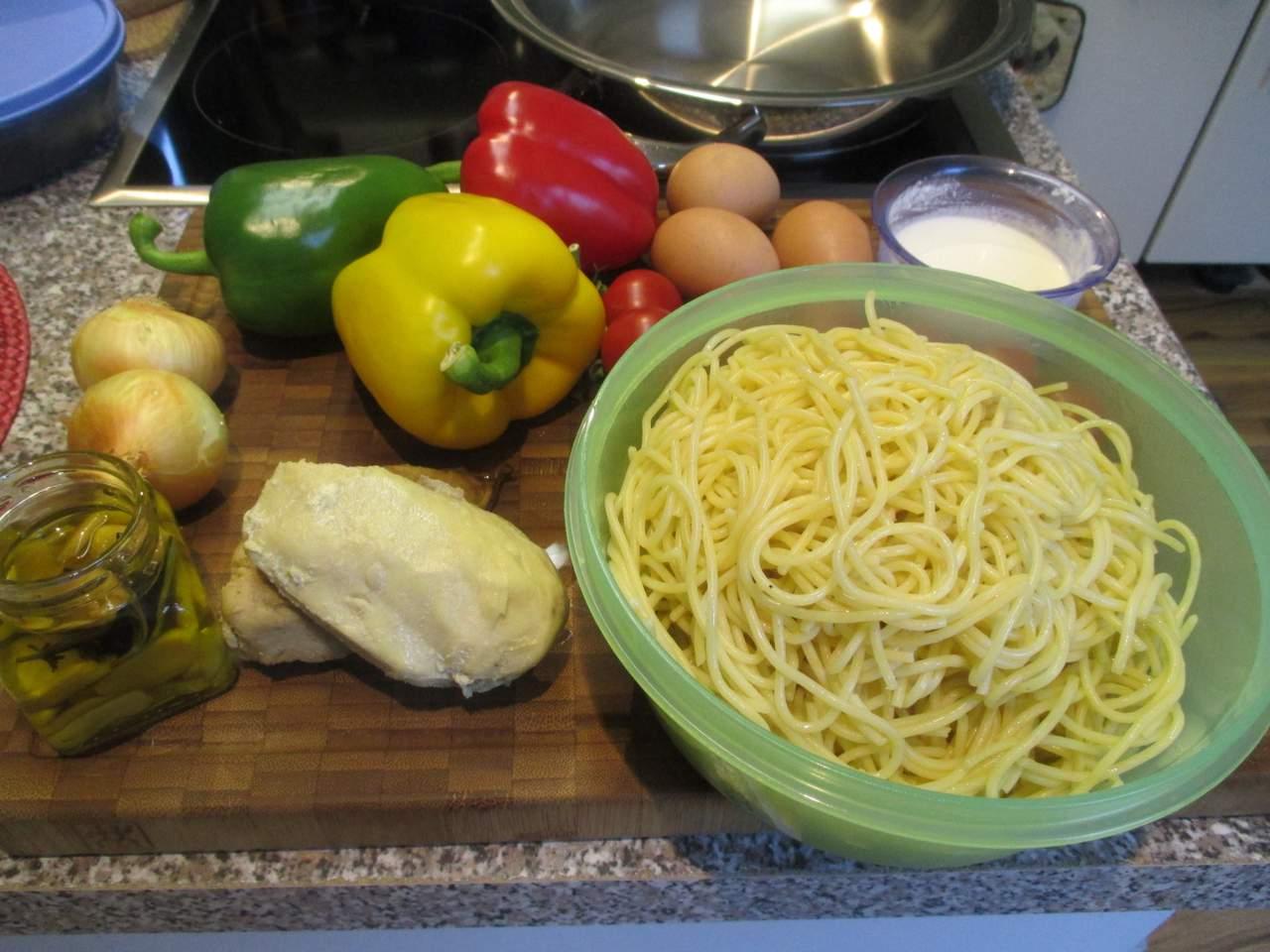 Zutaten für Spaghetti Pfanne